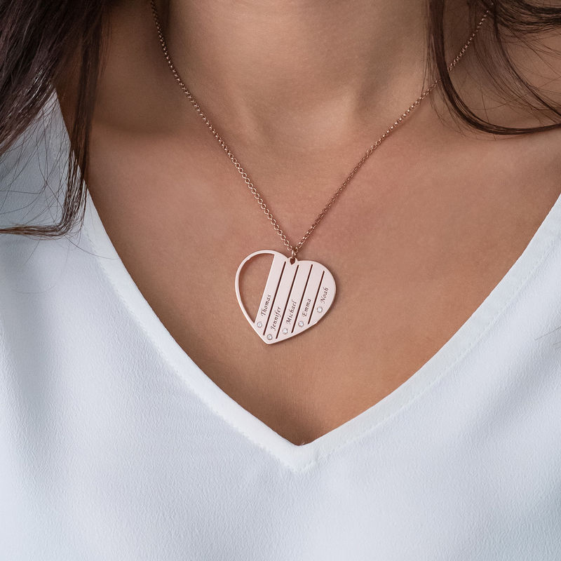 Mum Necklace in Rose Gold Plating with Diamonds - 3