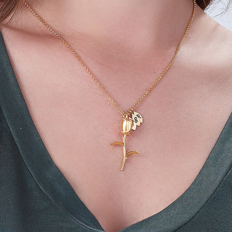 Rose Necklace with Initial charms in Gold Plating - 3