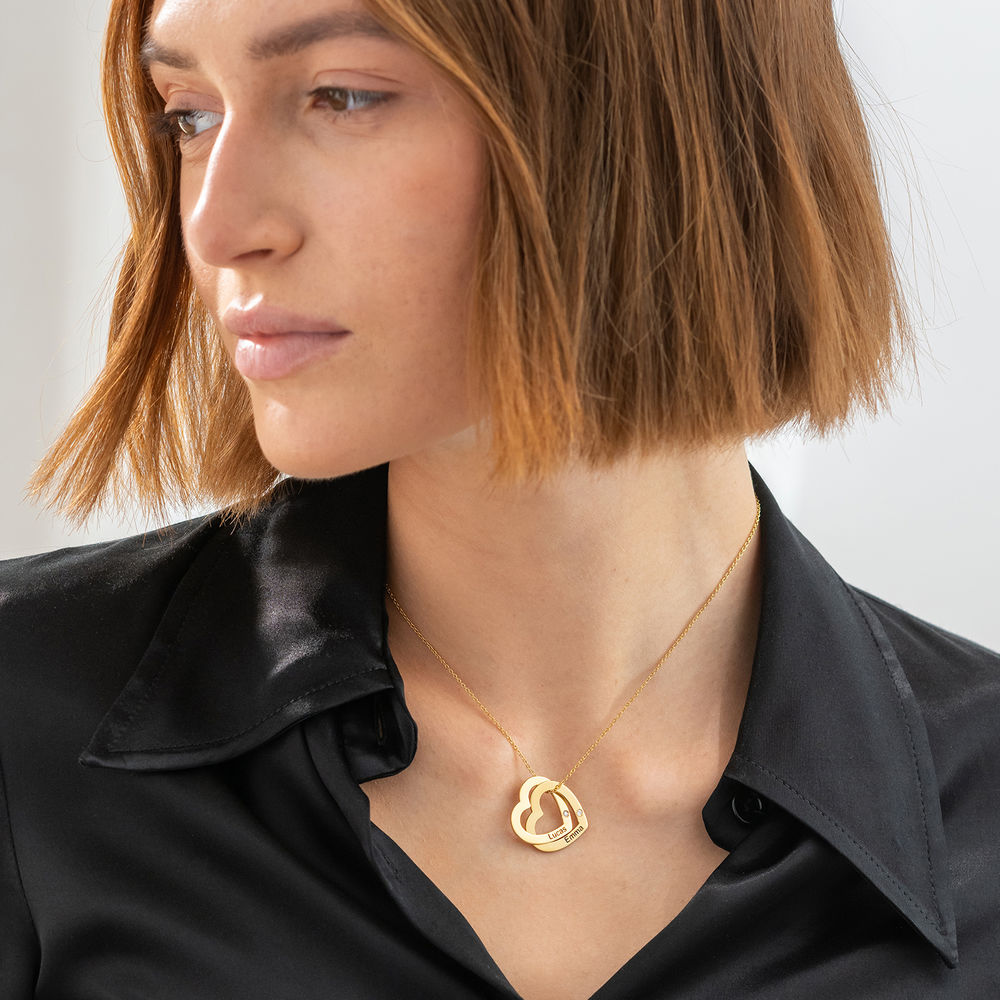 Diamond Interlocking Hearts Necklace in Gold Plated  - 1