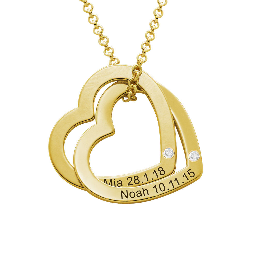 Diamond Interlocking Hearts Necklace in Gold Vermeil