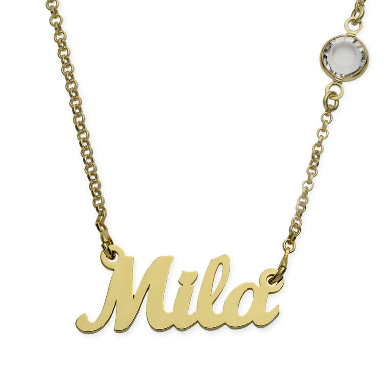 Name Necklace in Gold Plating with One Birthstone