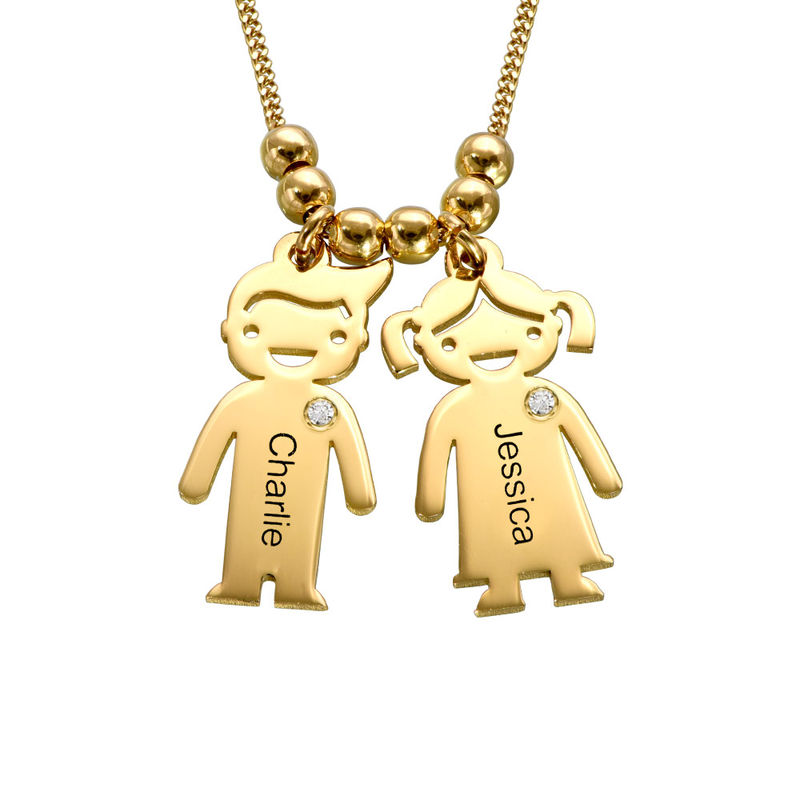 Kids Charms Mother Necklace in Gold Plating with Diamond