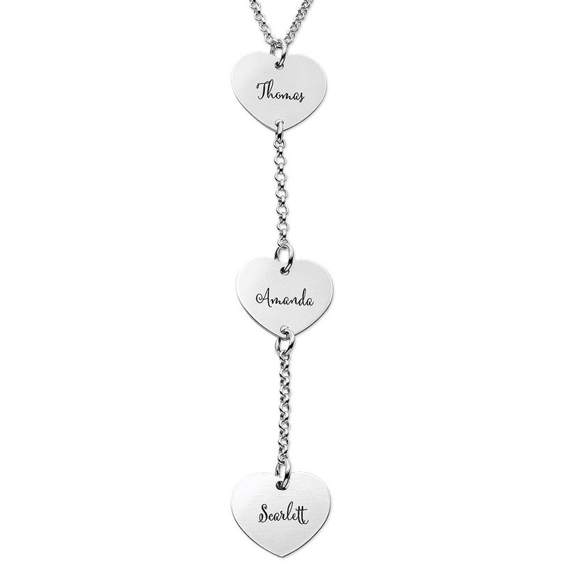 Personalised Y Necklace in Sterling Silver with Heart Shaped Pendants