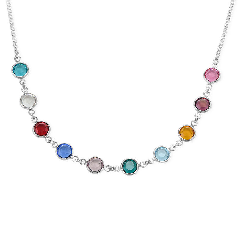Mother's Birthstone Necklace in Silver