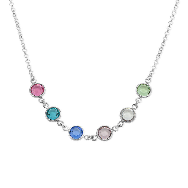 Mother's Birthstone Necklace in Silver - 1