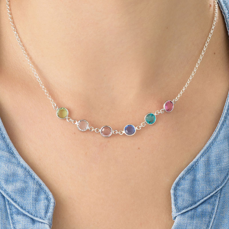 Mother's Birthstone Necklace in Silver - 3