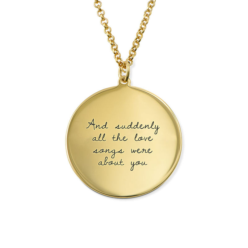 Handwritten Style Necklace in Gold Plating