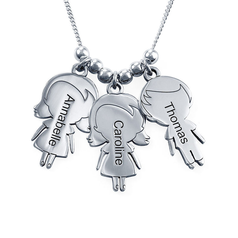 Mum Necklace with Children Charms in Sterling Silver - Shiny Finish