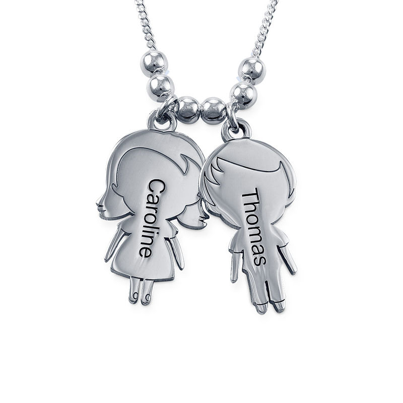Mum Necklace with Children Charms in Sterling Silver - Shiny Finish - 1