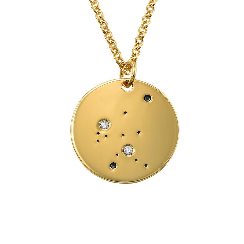 Aquarius Constellation Necklace with Diamonds in Gold Plating