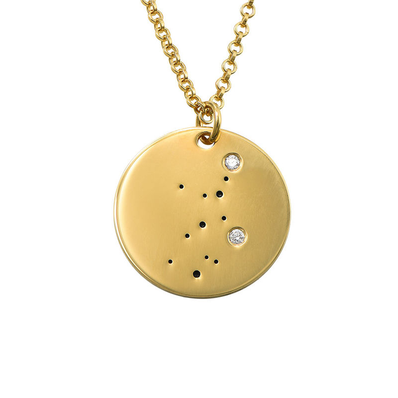 Virgo Constellation Necklace with Diamonds in Gold Plating