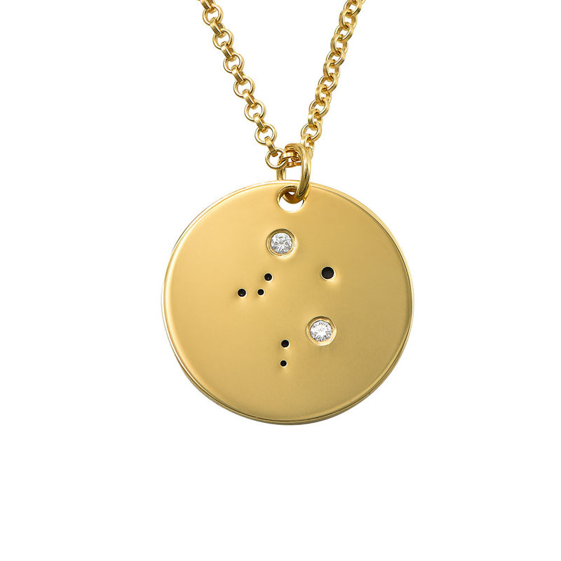 Libra Constellation Necklace with Diamonds in Gold Plating