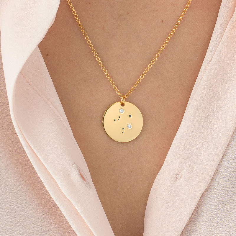 Libra Constellation Necklace with Diamonds in Gold Plating - 2