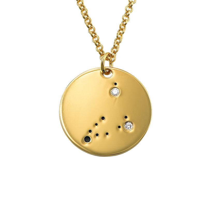 Capricorn Constellation Necklace with Diamonds in Gold Plating