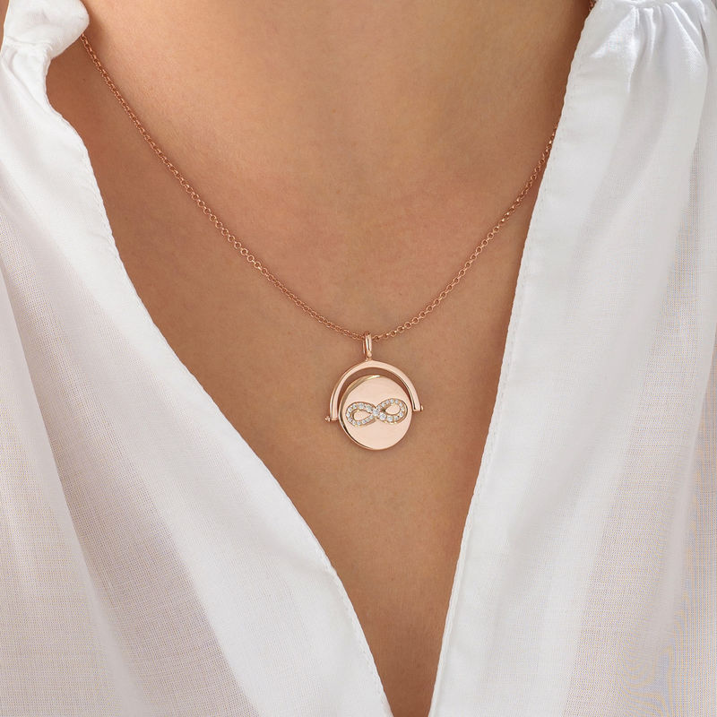 Spinning Infinity  Pendant Necklace in Rose Gold Plating - 3