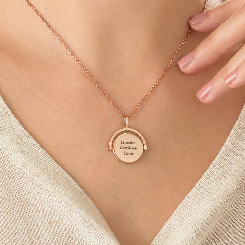 Spinning Engraved Necklace in Rose Gold Plating - 2