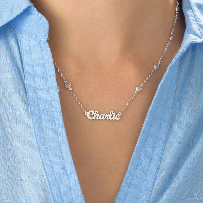 Name Necklace with Clear Crystal Stone in Silver - 3