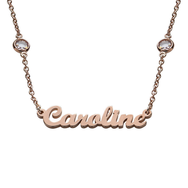 Name Necklace with Clear Crystal Stone  in Rose Gold Plating