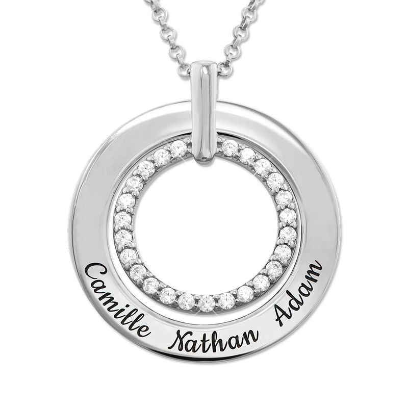 Engraved Circle Necklace in Sterling Silver