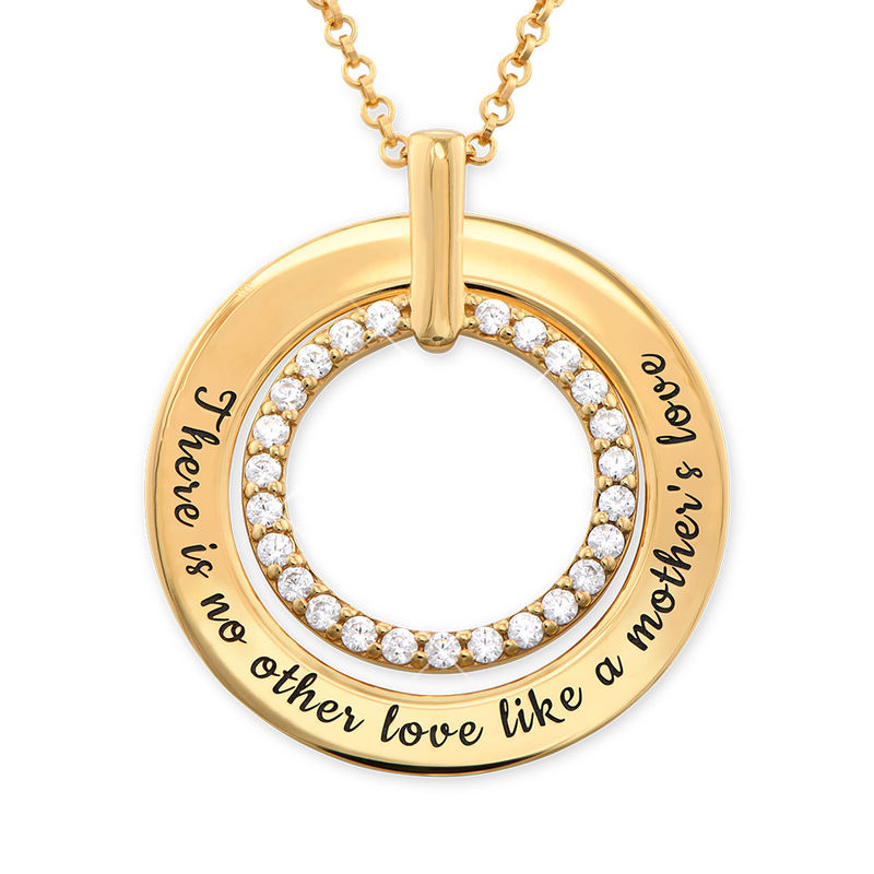 Engraved Circle Necklace in Gold Plating