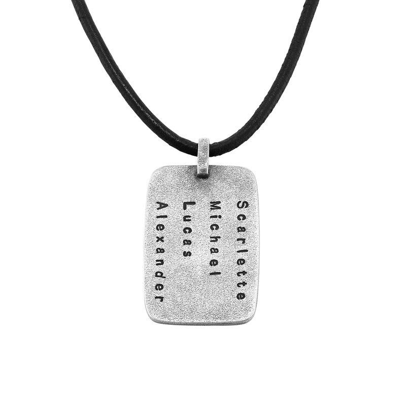 Personalised Dog Tag Leather Cord Necklace for Men