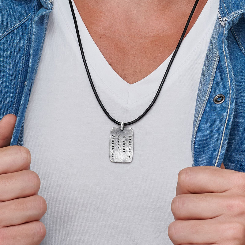 Personalised Dog Tag Leather Cord Necklace for Men - 2