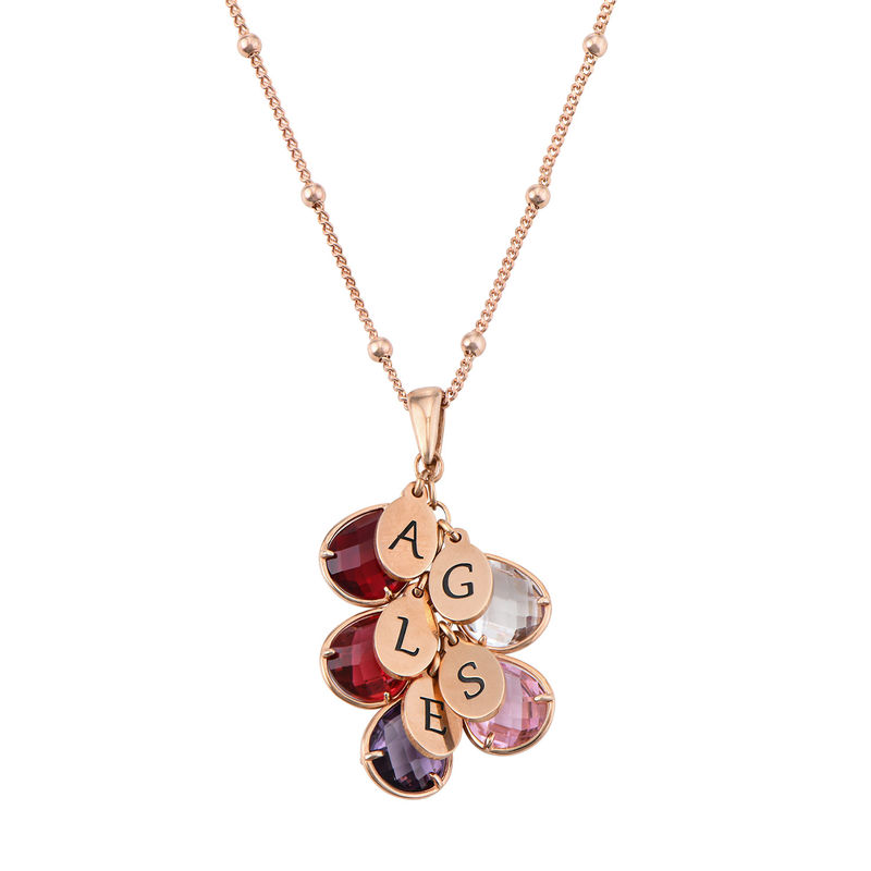 Custom Birthstone Drop Necklace for Mum in Rose Gold Plating