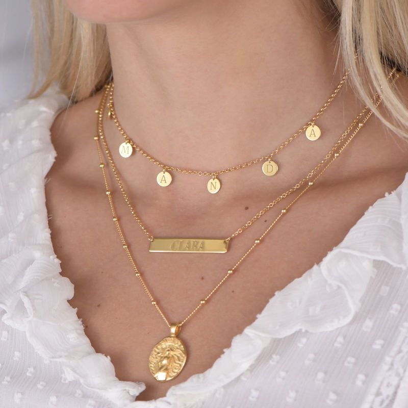 Initials Choker Necklace in Gold Plating - 4