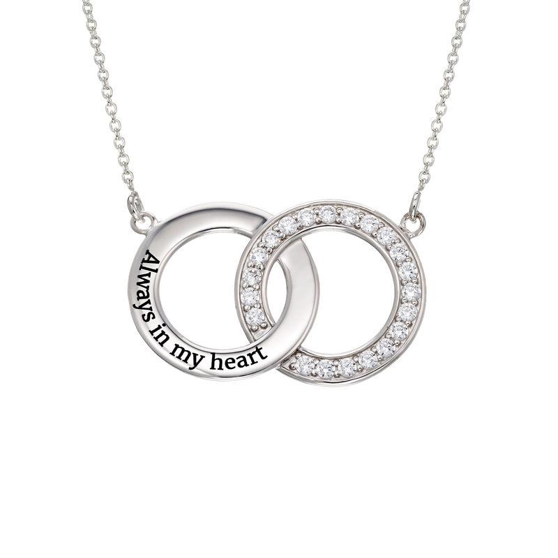 Cubic Zirconia Interlocking Circle Necklaces in Sterling Silver - 1