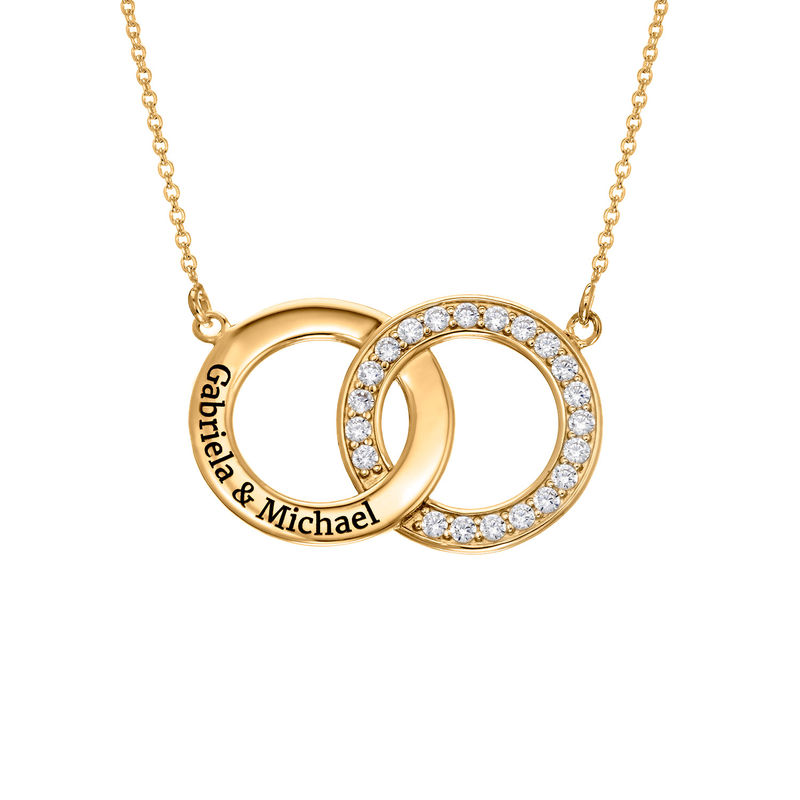 Cubic Zirconia Interlocking Circle Necklaces in Gold Plating