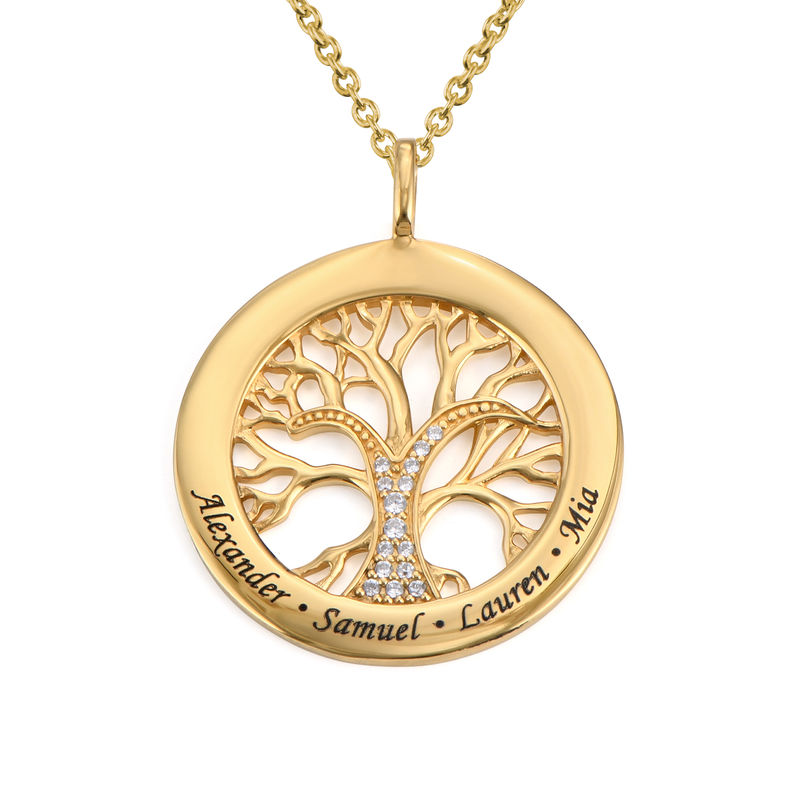 Family Tree Circle Necklace with Cubic Zirconia in Gold Plating