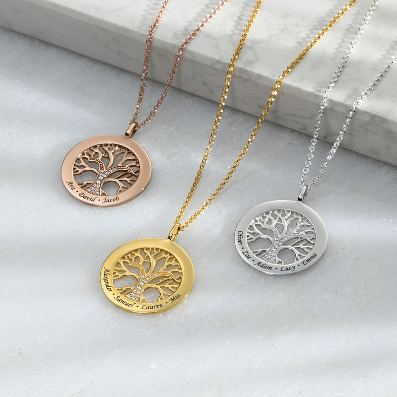 Family Tree Circle Necklace with Cubic Zirconia in Rose Gold Plating - 1