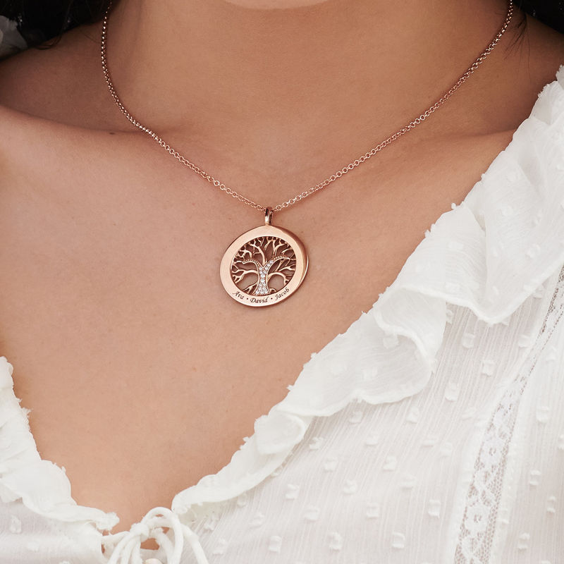Family Tree Circle Necklace with Cubic Zirconia in Rose Gold Plating - 3