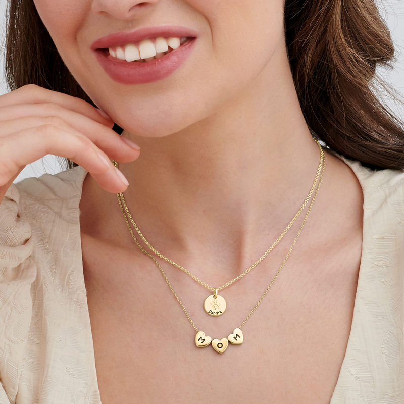 Initial Hearts Stackable Necklace in Gold Plating - 4