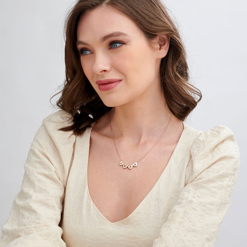 Initial Hearts Stackable Necklace in Rose Gold Plating - 1