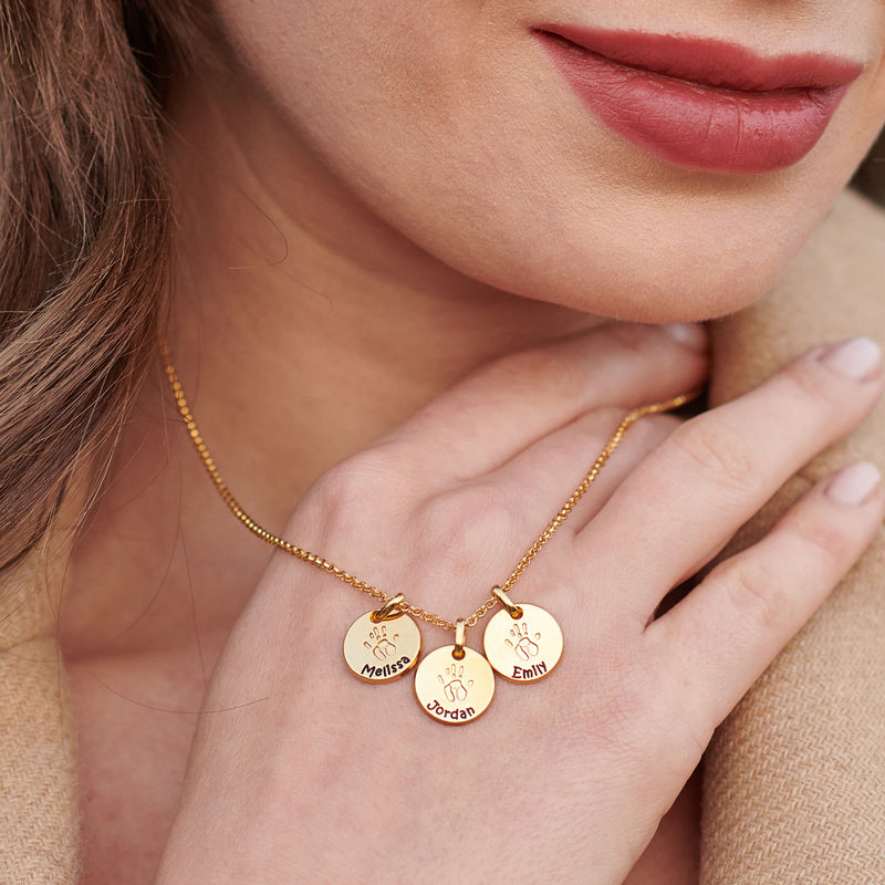 Baby Hand Engraved Charm Necklace in Gold Plating - 4