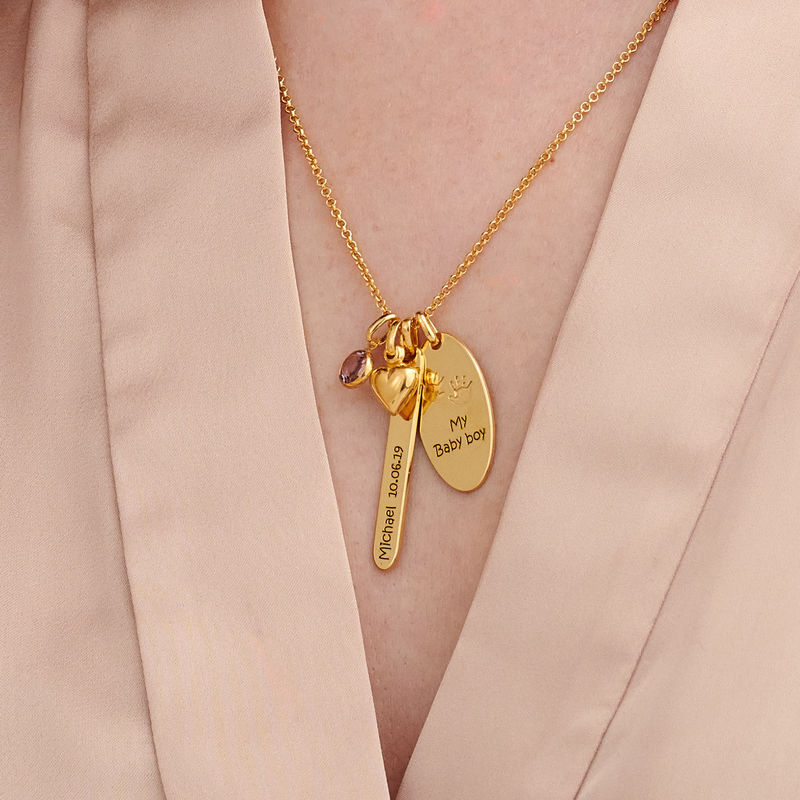 Personalised Mum Charm Necklace in Gold Plating - 2