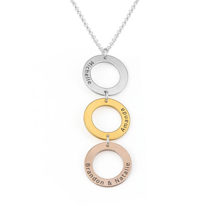 Personalised Vertical Hanging 3 Circles Necklace in Tri-colour