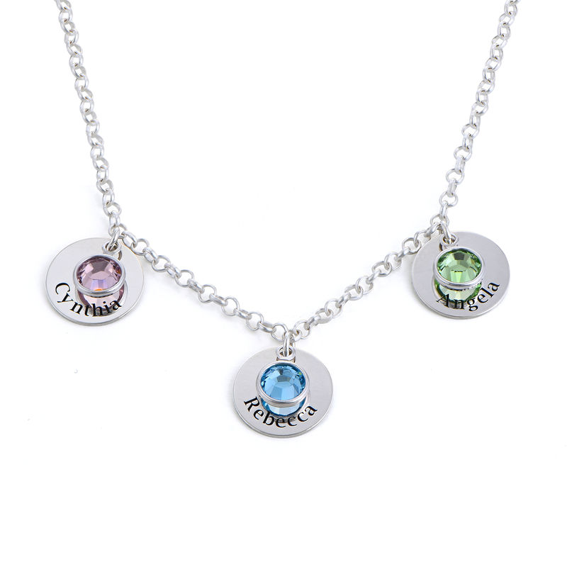 Mum Personalised Charms Necklace with Swarovski Crystals in Sterling Silver