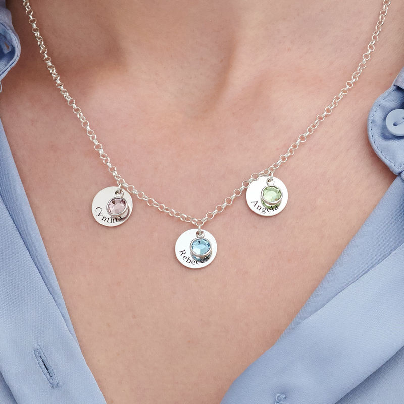 Mum Personalised Charms Necklace with Swarovski Crystals in Sterling Silver - 2