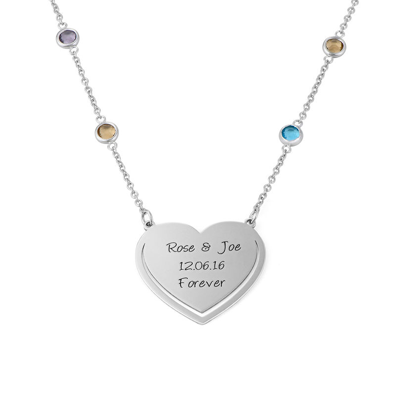 Engraved Heart Necklace with Multi-coloured Stones chain in Sterling Silver