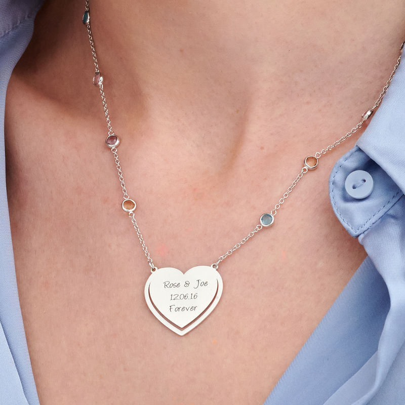Engraved Heart Necklace with Multi-coloured Stones chain in Sterling Silver - 2