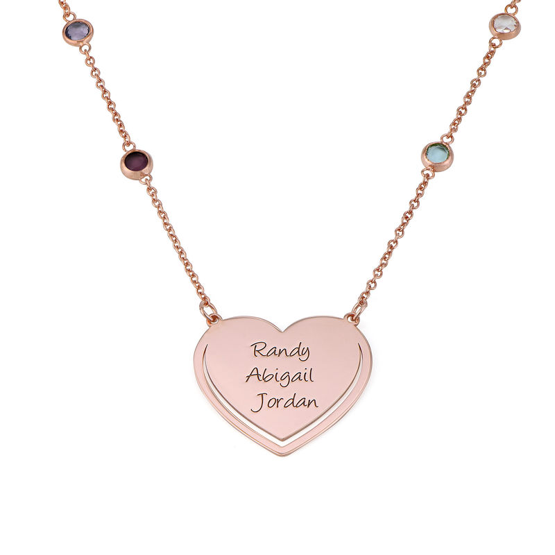 Engraved Heart Necklace with Multi-coloured Stones chain in Rose Gold Plating