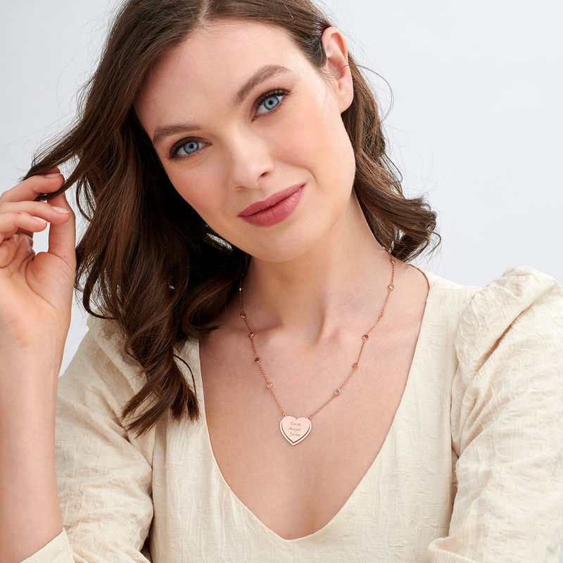 Engraved Heart Necklace with Multi-coloured Stones chain in Rose Gold Plating - 1