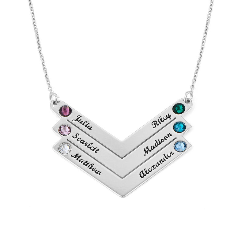 Swarovski Personalised Family Necklace in Sterling Silver