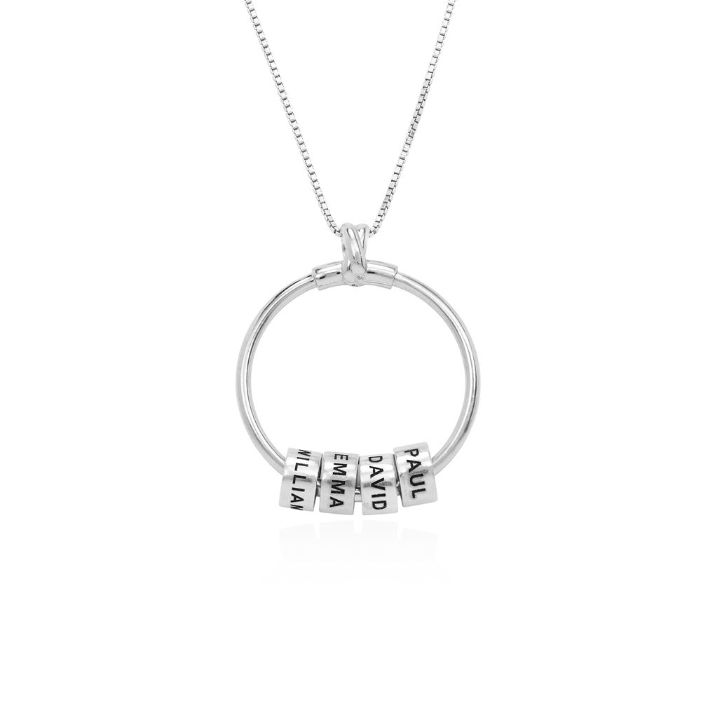 Linda Circle Pendant Necklace with Leaf And Custom Beads in Sterling Silver - 2