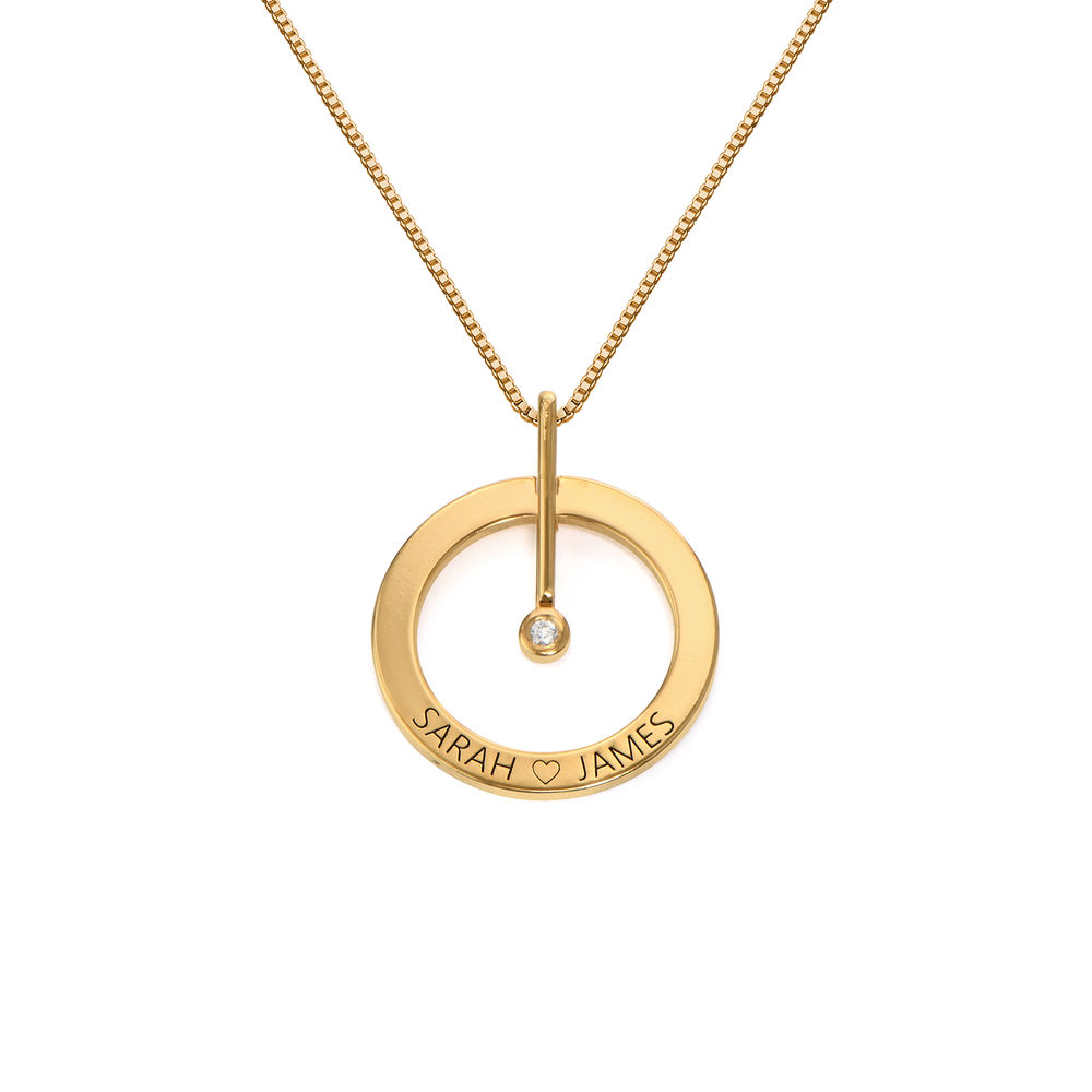 Personalized Circle Necklace with Diamond in 18ct Gold Plating