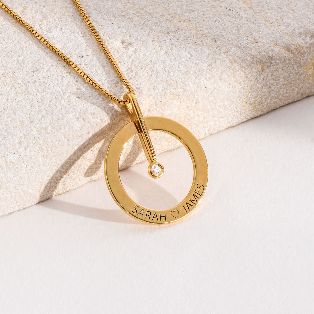 Personalized Circle Necklace with Diamond in 18ct Gold Plating - 4