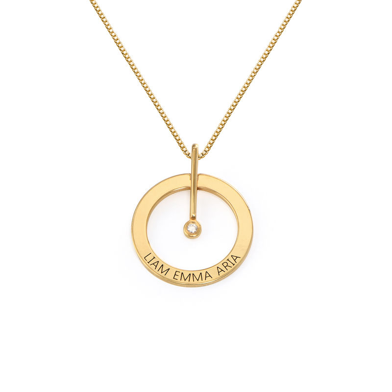 Personalized Circle Necklace with Diamond in 18K Gold Vermeil