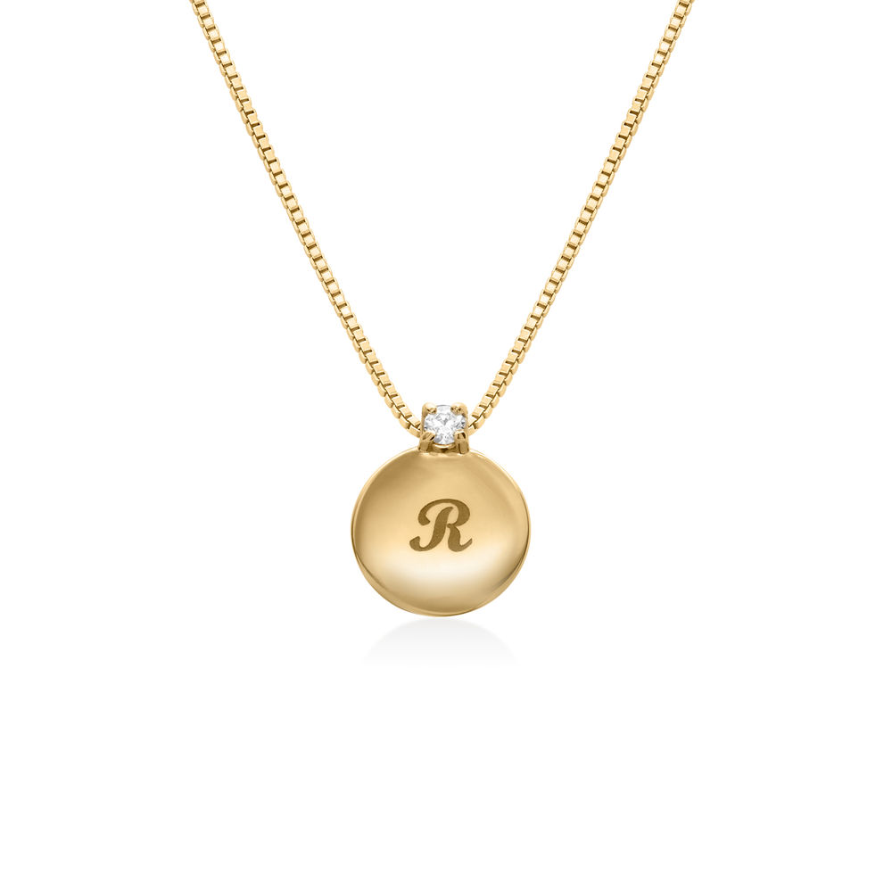 Small Circle Initial Necklace with Diamond in Gold Plated